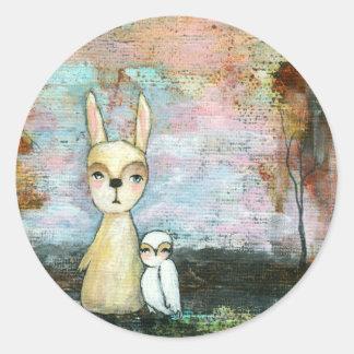Pegatina Redonda Mi mejor amigo, conejo del bebé, arte abstracto