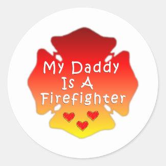 Pegatina Redonda Mi papá es bombero