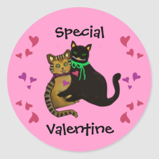 Pegatina Redonda Mi tarjeta del día de San Valentín de Purrfect