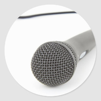 Pegatina Redonda Micrófono - charla a mí