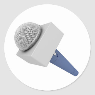 Pegatina Redonda Micrófono del reportero