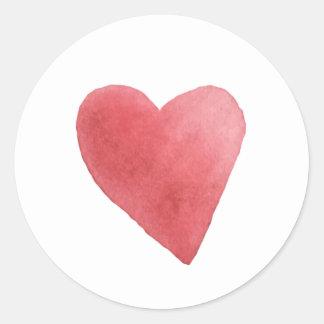 Pegatina Redonda Minimalist rojo del corazón de la acuarela linda