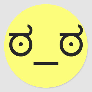 Pegatina Redonda mirada del ಠ_ಠ de la cara divertida del arte del