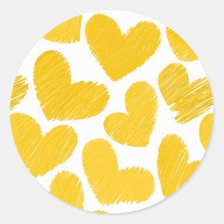 Pegatina Redonda Modelo amarillo en colores pastel femenino de los