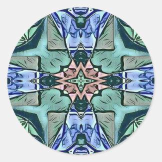 Pegatina Redonda Modelo artístico del trullo del melocotón moderno