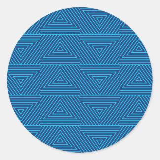 Pegatina Redonda modelo azul del triángulo