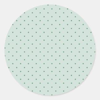 Pegatina Redonda Modelo de lunares verde delicado en un más verde