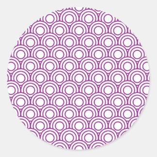 Pegatina Redonda Modelo de onda moderno geométrico japonés