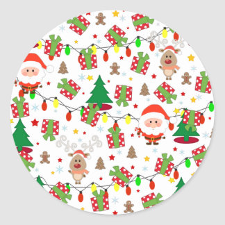 Pegatina Redonda Modelo de Santa y de Rudolph
