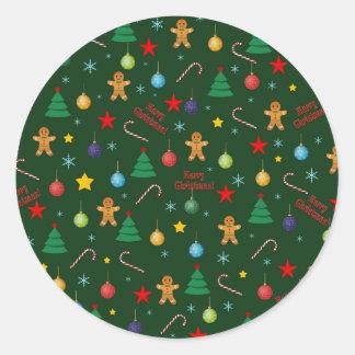 Pegatina Redonda Modelo del navidad