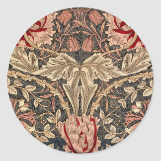 Pegatina Redonda Modelo del vintage de la madreselva de William