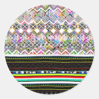 Pegatina Redonda Modelos tribales aztecas coloridos lindos