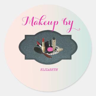 Pegatina Redonda Moder elegante femenino, artista de maquillaje