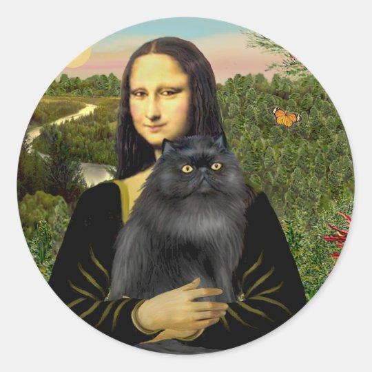 Pegatina Redonda Mona Lisa - gato persa (negro) | Zazzle.es