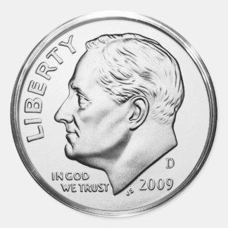 Pegatina Redonda Moneda de diez centavos de Roosevelt (paquete de
