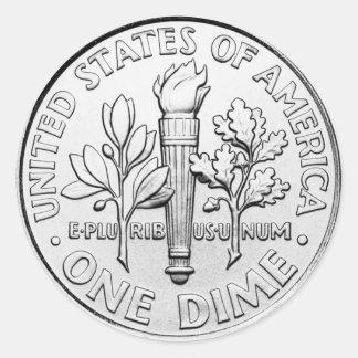 Pegatina Redonda Moneda de diez centavos (paquete de 6/20)