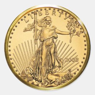 Pegatina Redonda Moneda del lingote de oro de la libertad (paquete