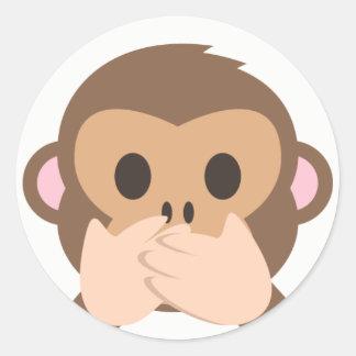 Pegatina Redonda Mono Emoji del Hablar-Ninguno-Mal