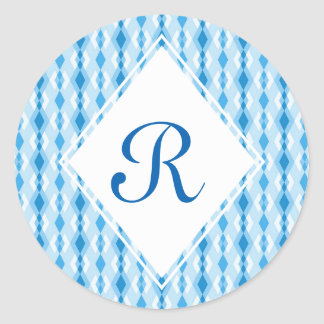 Pegatina Redonda Monograma azul del diamante