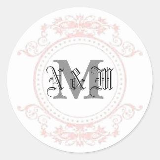 Pegatina Redonda Monograma de N y de M