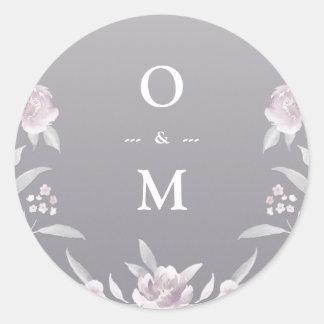 Pegatina Redonda Monograma de plata floral elegante del boda del