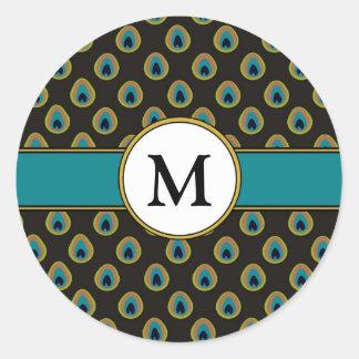 Pegatina Redonda Monograma del personalizado del modelo del pavo