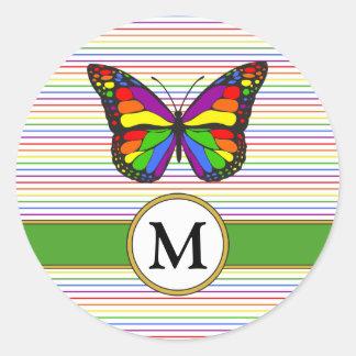 Pegatina Redonda Monograma elegante del personalizado de la tela a