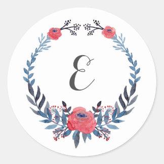 Pegatina Redonda Monograma floral de los rosas rojos el | de la