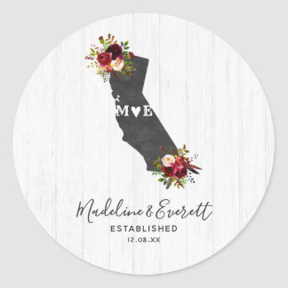 Pegatina Redonda Monograma floral rústico del boda del estado de