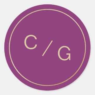 Pegatina Redonda Monograma moderno minimalista púrpura de los pares