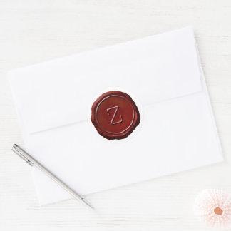Pegatina Redonda Monograma rojo de sellado de cera Z inicial