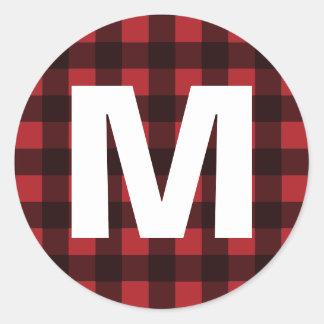 Pegatina Redonda Monograma rústico del modelo de la tela escocesa