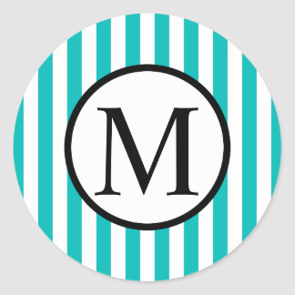Pegatina Redonda Monograma simple con las rayas verticales de la