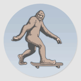 Pegatina Redonda Monopatín de Bigfoot