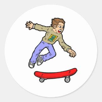 Pegatina Redonda Monopatín de la diversión del salto del aire del