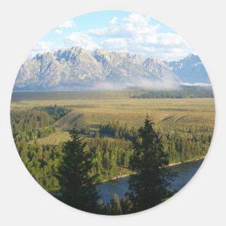 Pegatina Redonda Montañas y río de Jackson Hole
