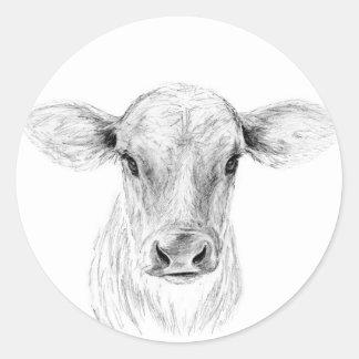Pegatina Redonda MOO una vaca joven del jersey