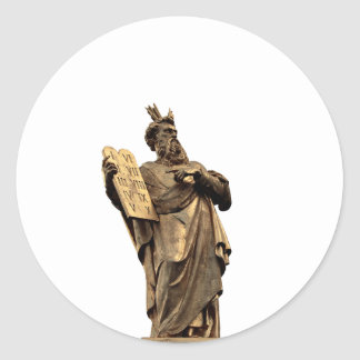 Pegatina Redonda Moses y diez mandamientos de oro