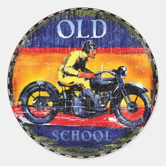 Pegatina Redonda Motocicletas del vintage de la escuela vieja