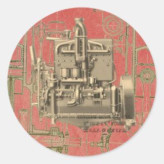 Pegatina Redonda Motor de gas de Milwaukee Wisconsin del motor de