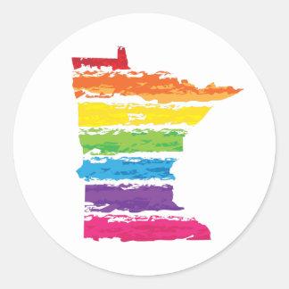 Pegatina Redonda movimientos del arco iris de Minnesota