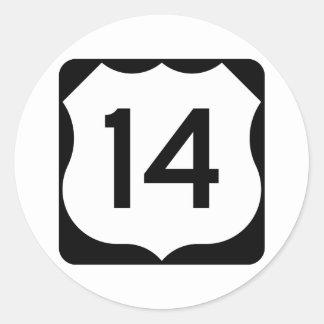 Pegatina Redonda Muestra de la ruta 14 de los E.E.U.U.