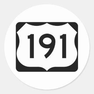 Pegatina Redonda Muestra de la ruta 191 de los E.E.U.U.