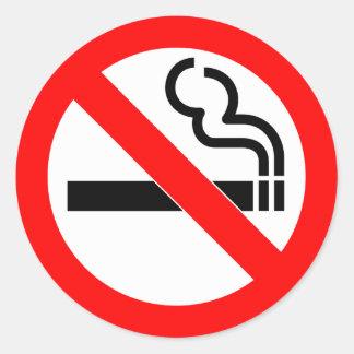 Pegatina Redonda Muestra de no fumadores del símbolo oficial