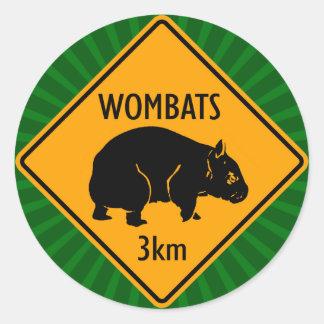 Pegatina Redonda Muestra de Wombats del australiano (paquete de