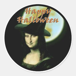 Pegatina Redonda Mujer Mona Lisa Halloween de Witchy