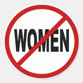 Pegatina Redonda Mujeres del odio Women/No no prohibidas la
