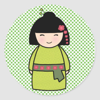 Pegatina Redonda Muñeca brillante, 3 pulgadas (hoja de Kokeshi 6)