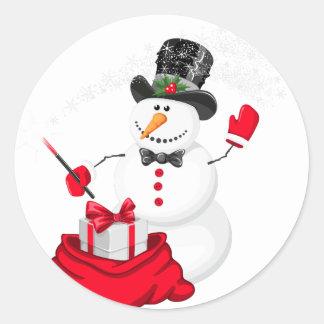 Pegatina Redonda Muñeco de nieve del navidad
