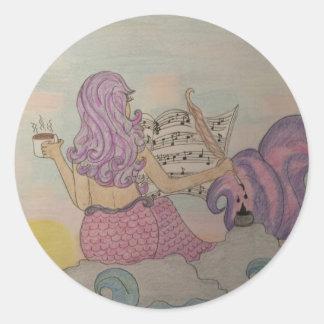 Pegatina Redonda Música de la sirena